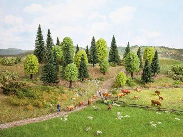 Bäume, Mischwald, 3,5 – 9 cm hoch, 10 Stück <br/>NOCH 32911 1