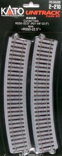 Gleis, gebogen, r 550, 22,5°, 4 Stück <br/>KATO 7002210