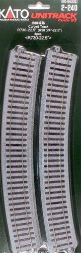 Gleis, gebogen, r 730, 22,5°, 4 Stück <br/>KATO 7002240