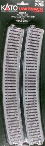 Gleis, gebogen, r 790, 22,5°, 4 Stück <br/>KATO 7002250
