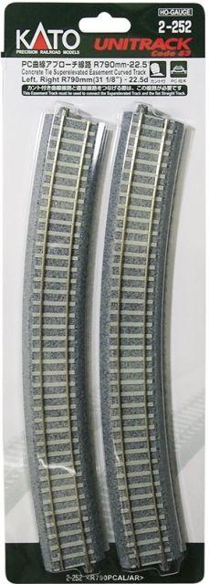 Gleis, gebogen, Beton, 2 Stück <br/>KATO 7002252