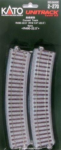 Gleis, gebogen, r 490, 22,5°, 4 Stück <br/>KATO 7002270