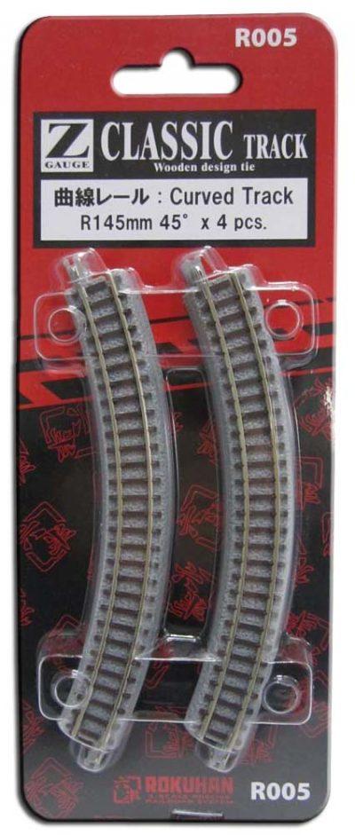 Gleis, gebogen, R145, 45° <br/>Rokuhan 7297005