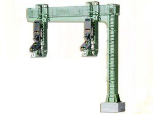Signalbrücke, mit 2 Signalköpfen, Licht-Einfahrsignale <br/>Viessmann 4750
