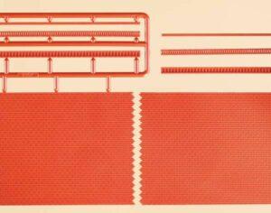 Ziegelmauern mit Zahnfriesvarianten rot <br/>Auhagen 41205
