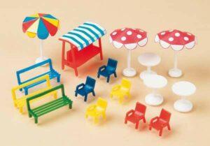 Bänke, Stühle, Tische, Sonnenschirme  <br/>Auhagen 42569