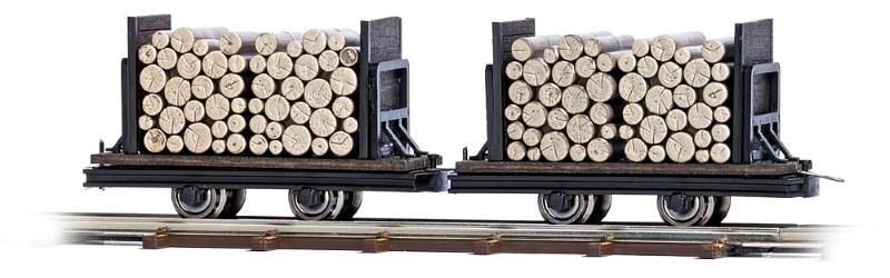 BUSCH 12211 <br/>Wagen mit Rundholz, 2 Stück