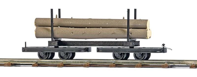 BUSCH 12222 <br/>Drehgestell-Rungenwagen mit Baumstämmen