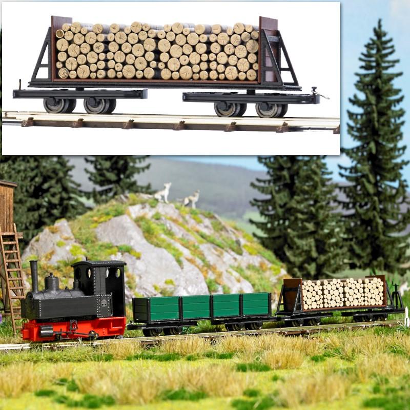 BUSCH 12247 <br/>Drehgestell-Stirnwandwagen mit Holzladung