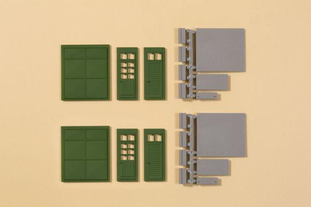 Auhagen 80256 <br/>Tore und Türen grün, Stufen, Rampen