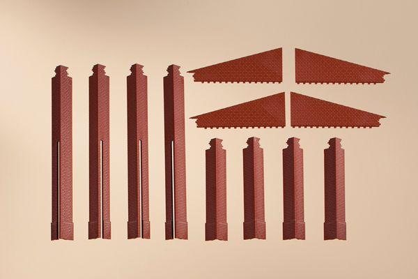 Auhagen 80408 <br/>Ecksäulen Anbau rot 1