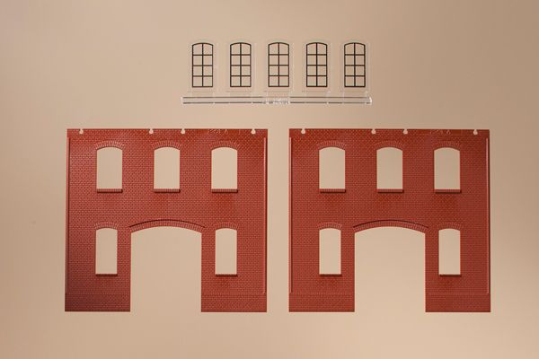 Auhagen 80518 <br/>Wände 2391A rot, Industriefenster L 1