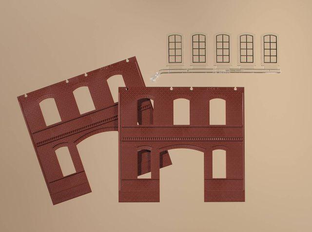 Auhagen 80523 <br/>Wände 2391C rot, Industriefenster L 1